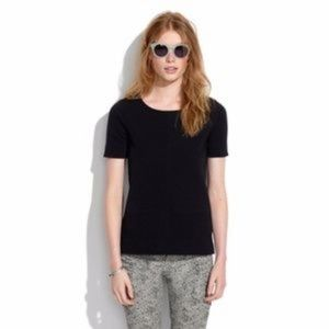 Madewell Bistro Black Ribbed Blouse | Size Large